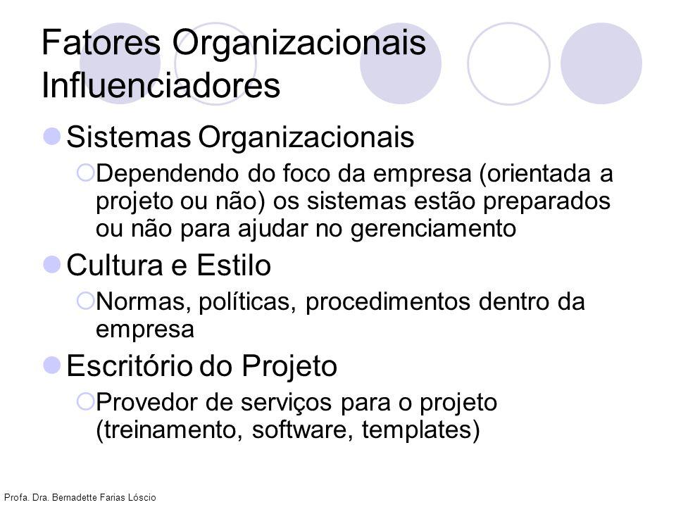 Profa. Dra. Bernadette Farias Lóscio Fatores Organizacionais Influenciadores Sistemas Organizacionais Dependendo do foco da empresa (orientada a proje
