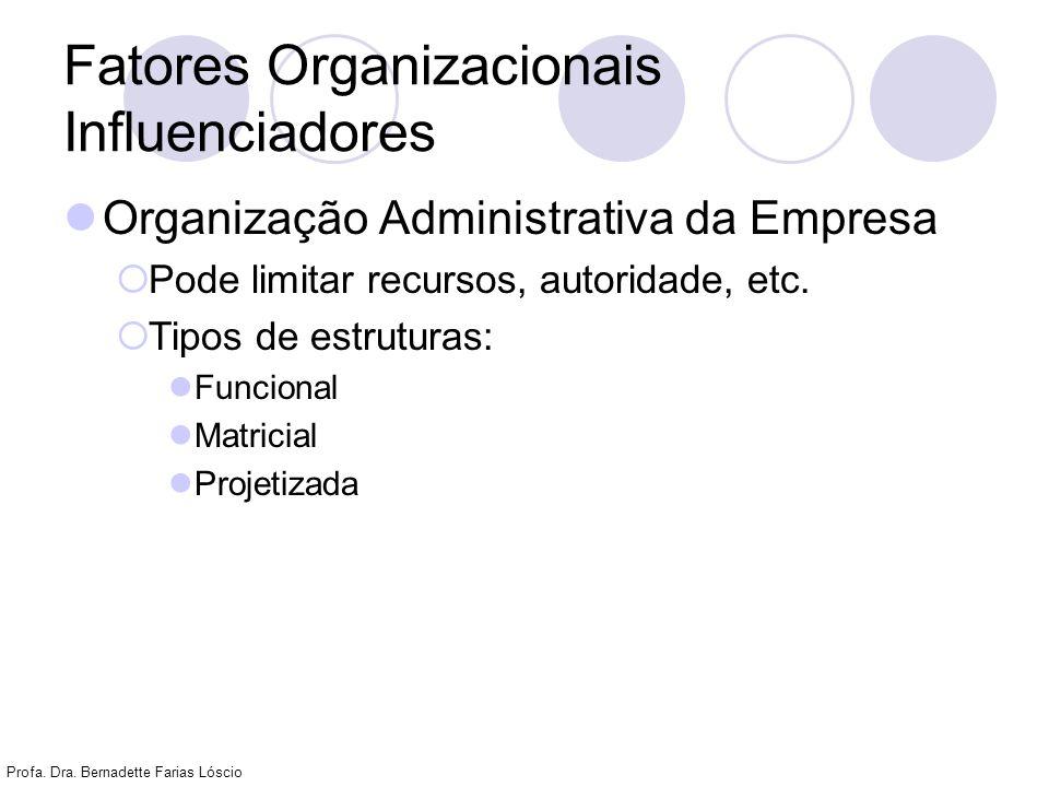 Profa. Dra. Bernadette Farias Lóscio Fatores Organizacionais Influenciadores Organização Administrativa da Empresa Pode limitar recursos, autoridade,