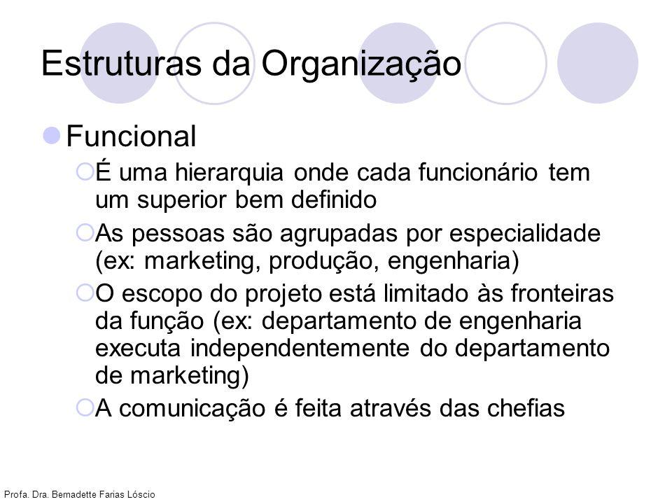 Profa. Dra. Bernadette Farias Lóscio Estruturas da Organização Funcional É uma hierarquia onde cada funcionário tem um superior bem definido As pessoa