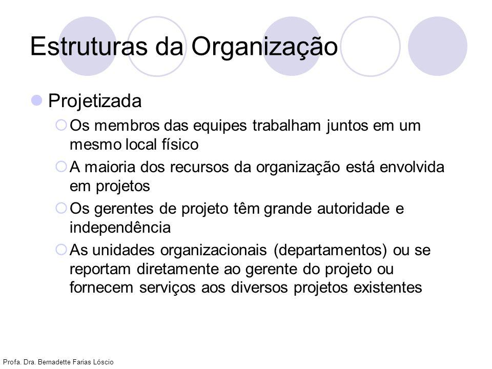 Profa. Dra. Bernadette Farias Lóscio Estruturas da Organização Projetizada Os membros das equipes trabalham juntos em um mesmo local físico A maioria