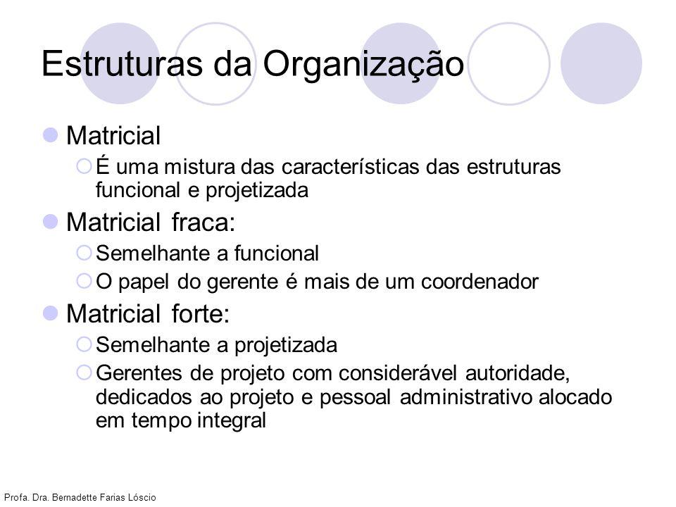 Profa. Dra. Bernadette Farias Lóscio Estruturas da Organização Matricial É uma mistura das características das estruturas funcional e projetizada Matr