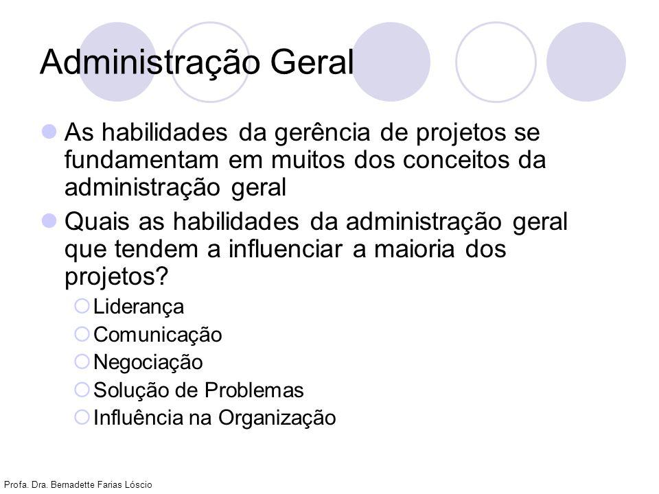 Profa. Dra. Bernadette Farias Lóscio Administração Geral As habilidades da gerência de projetos se fundamentam em muitos dos conceitos da administraçã