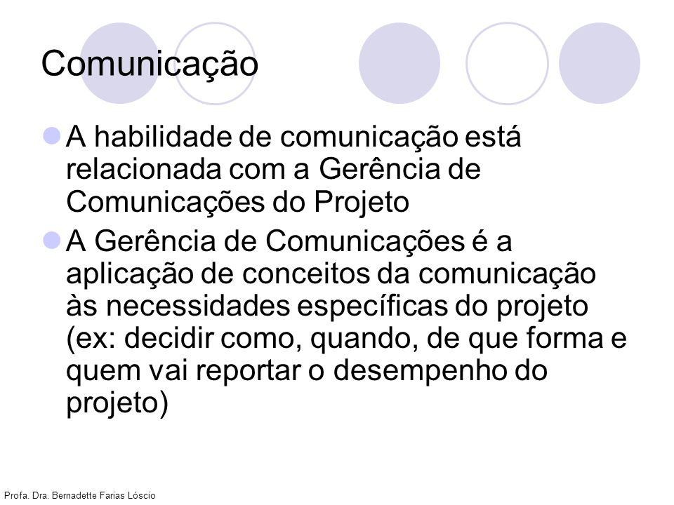 Profa. Dra. Bernadette Farias Lóscio Comunicação A habilidade de comunicação está relacionada com a Gerência de Comunicações do Projeto A Gerência de