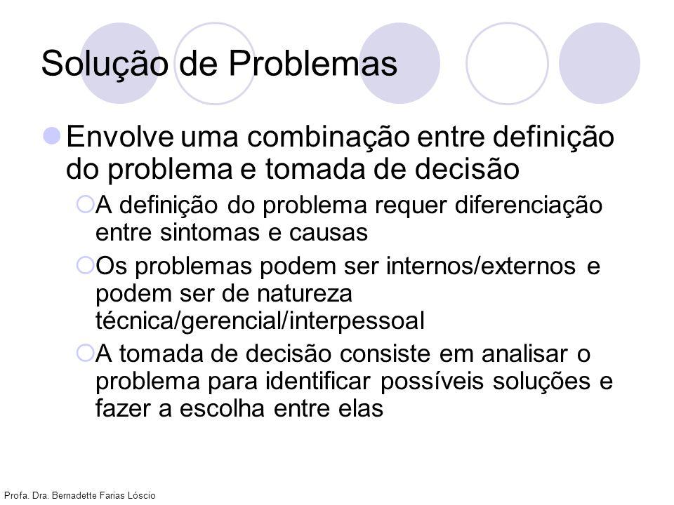Profa. Dra. Bernadette Farias Lóscio Solução de Problemas Envolve uma combinação entre definição do problema e tomada de decisão A definição do proble
