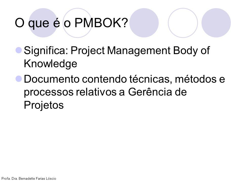 Profa. Dra. Bernadette Farias Lóscio O que é o PMBOK? Significa: Project Management Body of Knowledge Documento contendo técnicas, métodos e processos