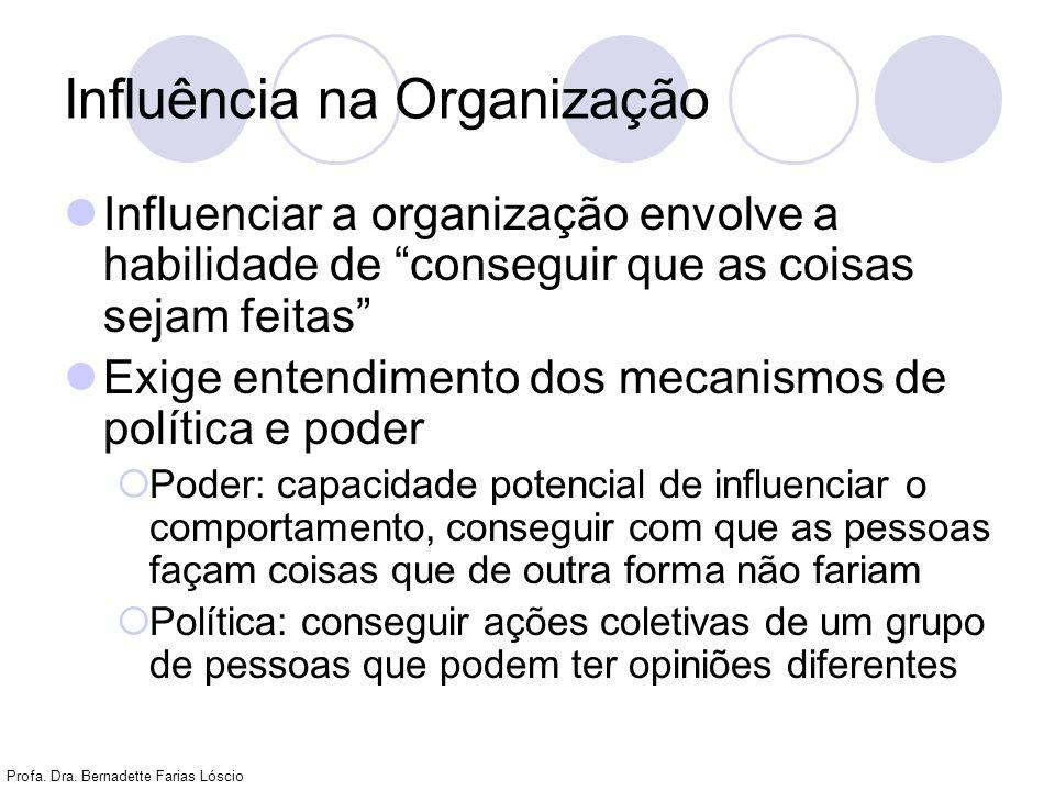 Profa. Dra. Bernadette Farias Lóscio Influência na Organização Influenciar a organização envolve a habilidade de conseguir que as coisas sejam feitas