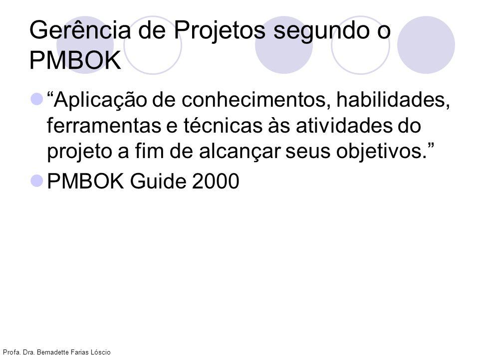 Profa. Dra. Bernadette Farias Lóscio Gerência de Projetos segundo o PMBOK Aplicação de conhecimentos, habilidades, ferramentas e técnicas às atividade