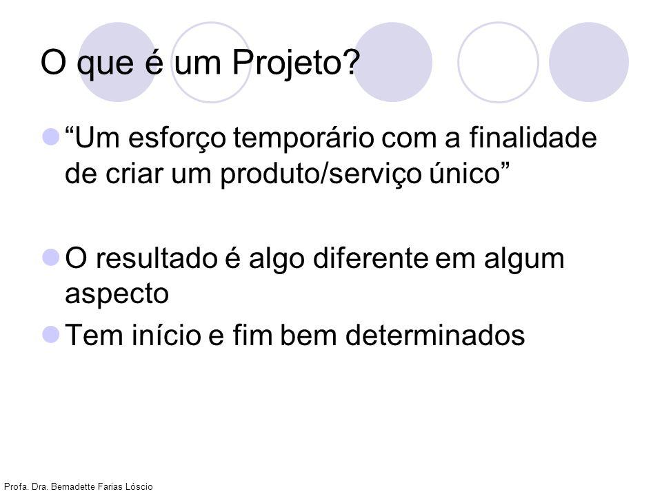 Profa. Dra. Bernadette Farias Lóscio O que é um Projeto? Um esforço temporário com a finalidade de criar um produto/serviço único O resultado é algo d