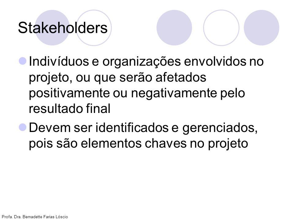 Profa. Dra. Bernadette Farias Lóscio Stakeholders Indivíduos e organizações envolvidos no projeto, ou que serão afetados positivamente ou negativament
