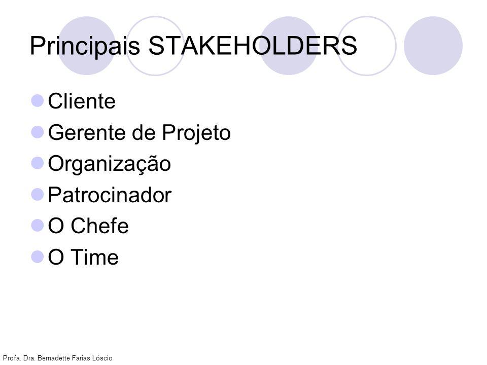 Profa. Dra. Bernadette Farias Lóscio Principais STAKEHOLDERS Cliente Gerente de Projeto Organização Patrocinador O Chefe O Time