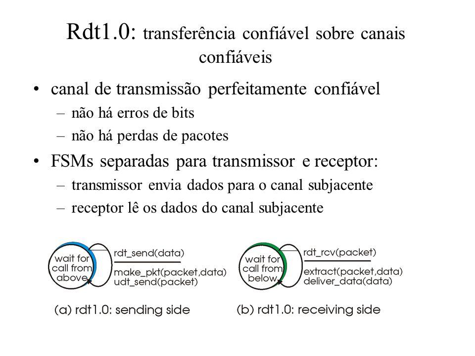 Etapas: desenvolver incrementalmente o transmissor e o receptor de um protocolo confiável de transferência de dados (rdt) considerar apenas transferên