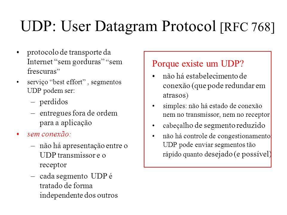 Multiplexação: exemplos host A servidor B porta origem: x porta dest.: 23 porta origem:23 port dest.: x aplicação Telnet cliente Web host A Servidor W
