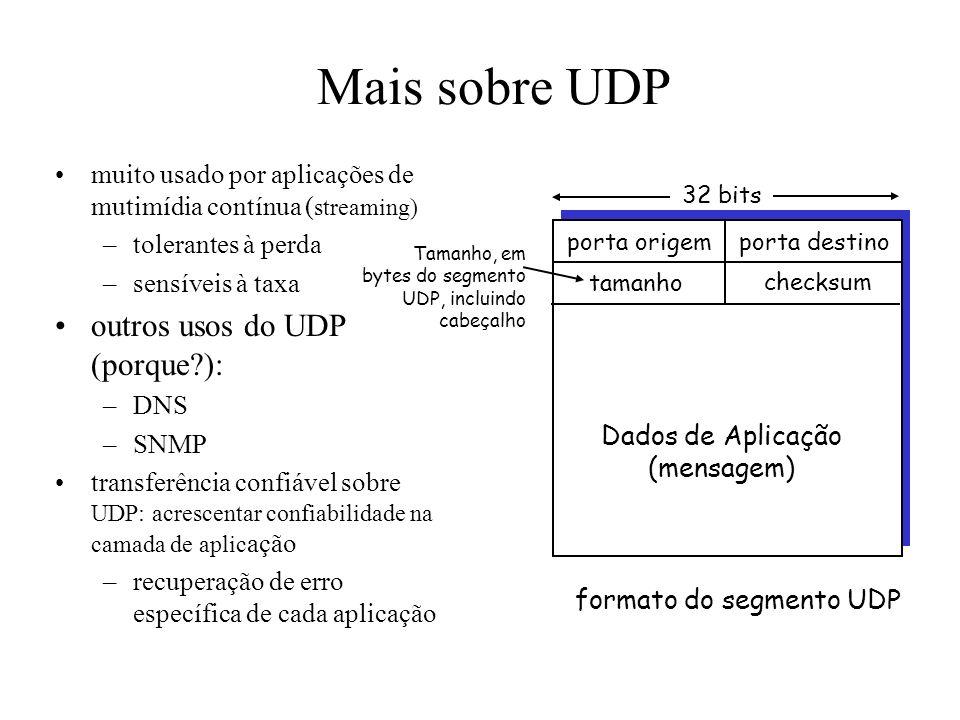 UDP: User Datagram Protocol [RFC 768] protocolo de transporte da Internet sem gorduras sem frescuras serviço best effort, segmentos UDP podem ser: –pe