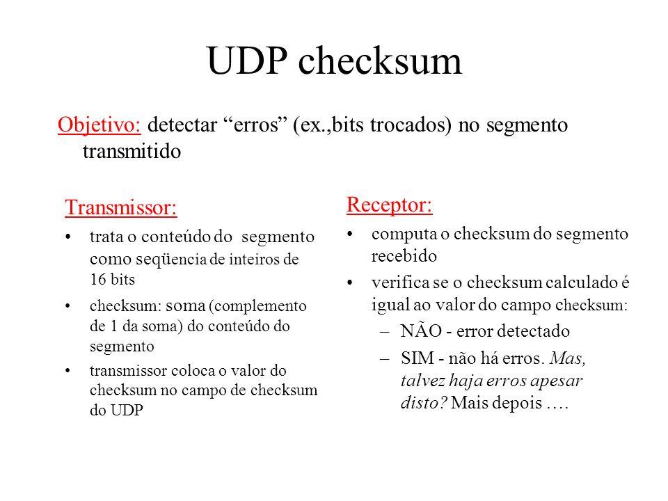 Mais sobre UDP muito usado por aplicações de mutimídia contínua ( streaming) –tolerantes à perda –sensíveis à taxa outros usos do UDP (porque?): –DNS
