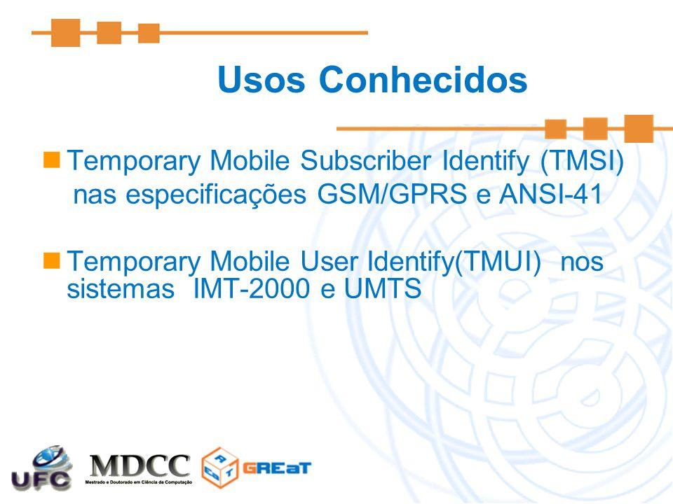 Usos Conhecidos Temporary Mobile Subscriber Identify (TMSI) nas especificações GSM/GPRS e ANSI-41 Temporary Mobile User Identify(TMUI) nos sistemas IM