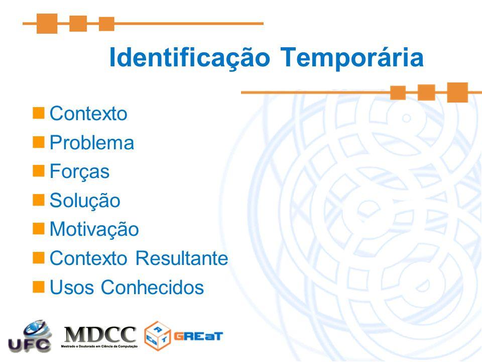 Identificação Temporária Contexto Problema Forças Solução Motivação Contexto Resultante Usos Conhecidos