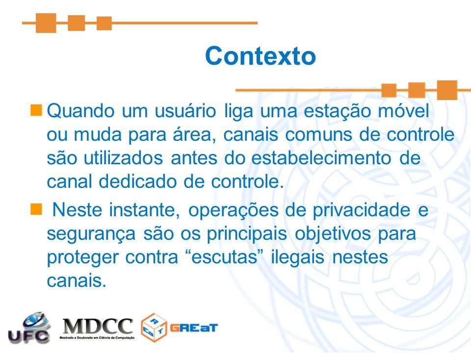 Contexto Quando um usuário liga uma estação móvel ou muda para área, canais comuns de controle são utilizados antes do estabelecimento de canal dedica
