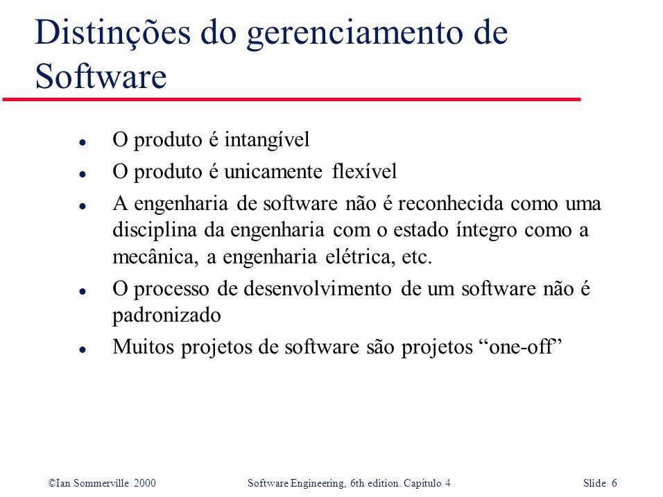 ©Ian Sommerville 2000Software Engineering, 6th edition. Capítulo 4 Slide 6 l O produto é intangível l O produto é unicamente flexível l A engenharia d