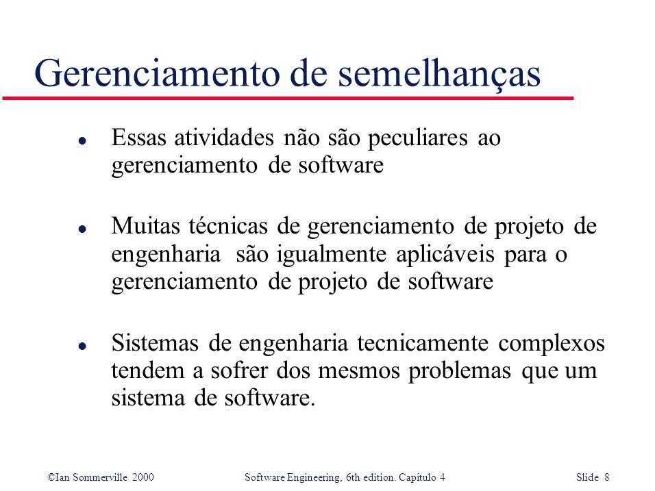 ©Ian Sommerville 2000Software Engineering, 6th edition. Capítulo 4 Slide 8 l Essas atividades não são peculiares ao gerenciamento de software l Muitas