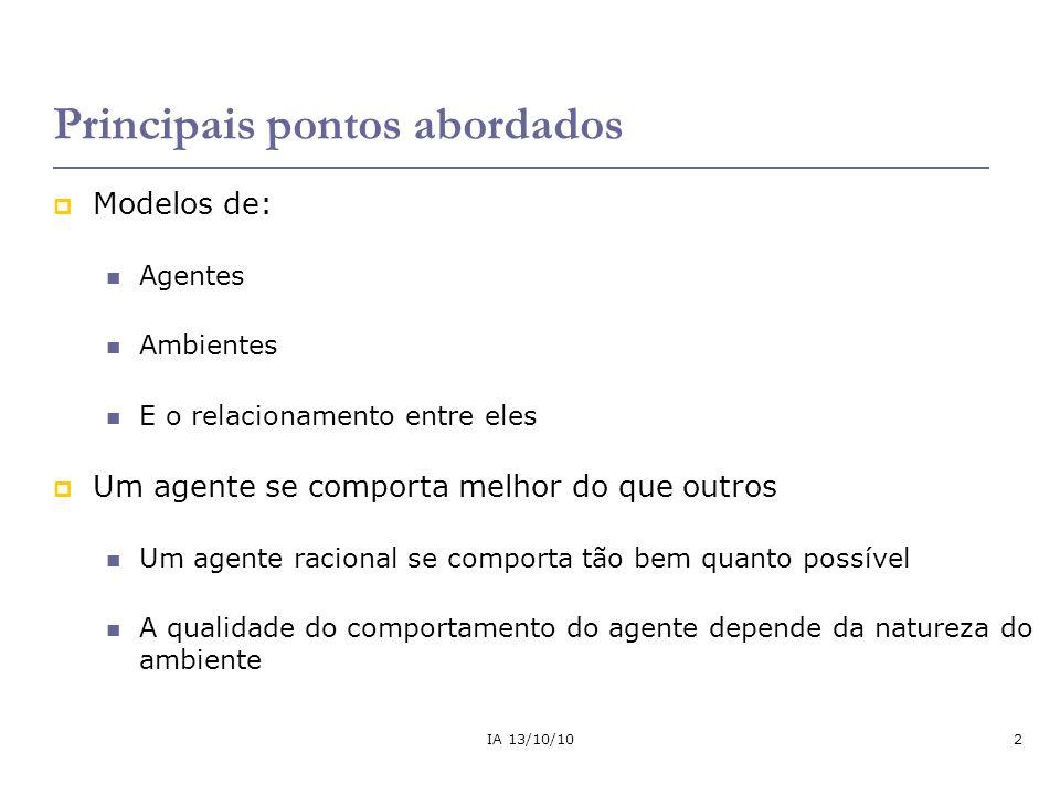 IA 13/10/1013 Como os agentes devem agir.