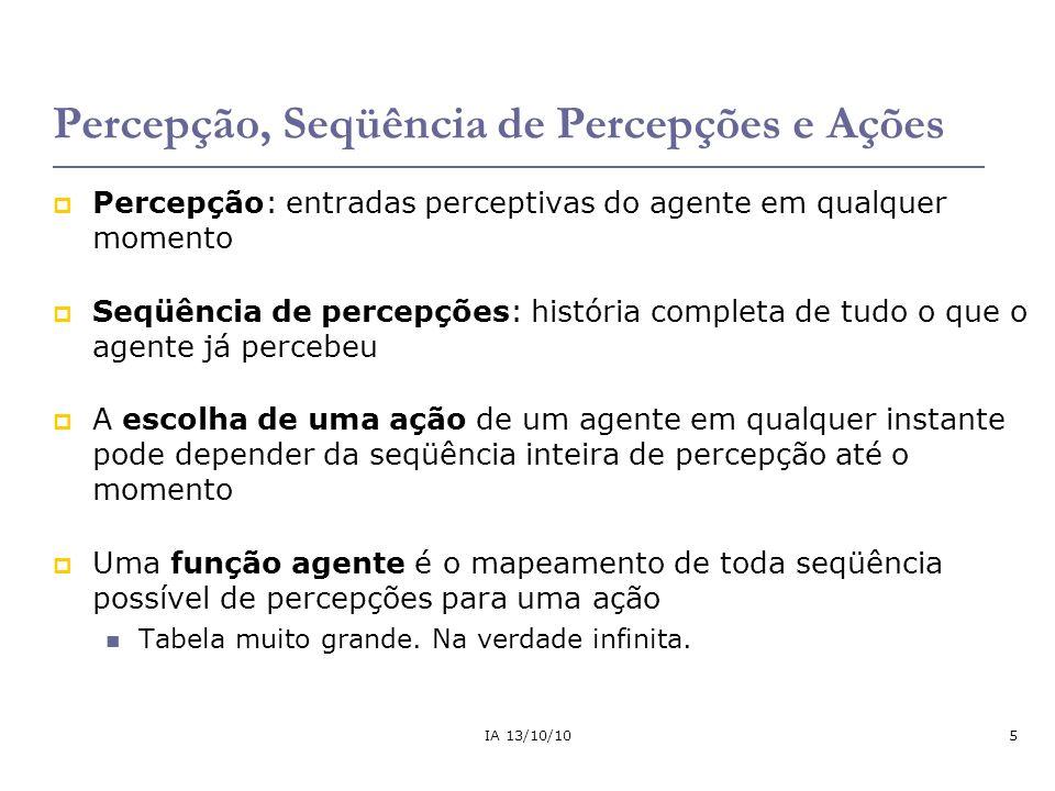 IA 13/10/106 Exemplo: agente humano Ambiente Percepções Ações Atuadores Sensores