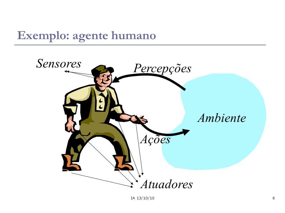 IA 13/10/107 Exemplo: mundo do aspirador de pó Percepção: local e conteúdo, por exemplo, [A, sujo] Ações: Direita, Esquerda, Sugar, NoOp