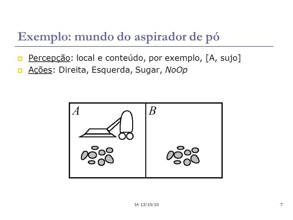 IA 13/10/1038 Agente reativo baseado em modelo O estado atual é dado em função do estado anterior (histórico) e do que foi percebido no ambiente.