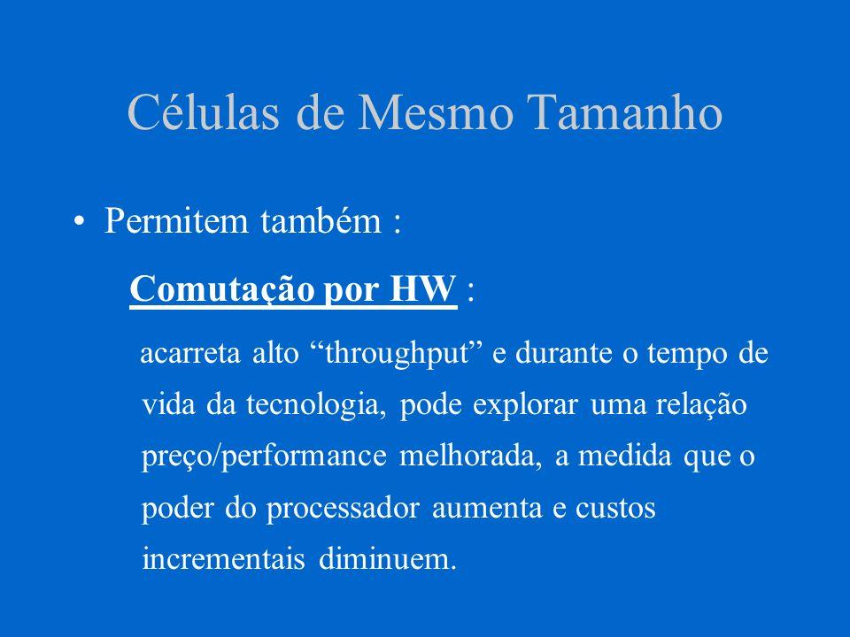 Células de Mesmo Tamanho Permitem também : Comutação por HW : acarreta alto throughput e durante o tempo de vida da tecnologia, pode explorar uma rela