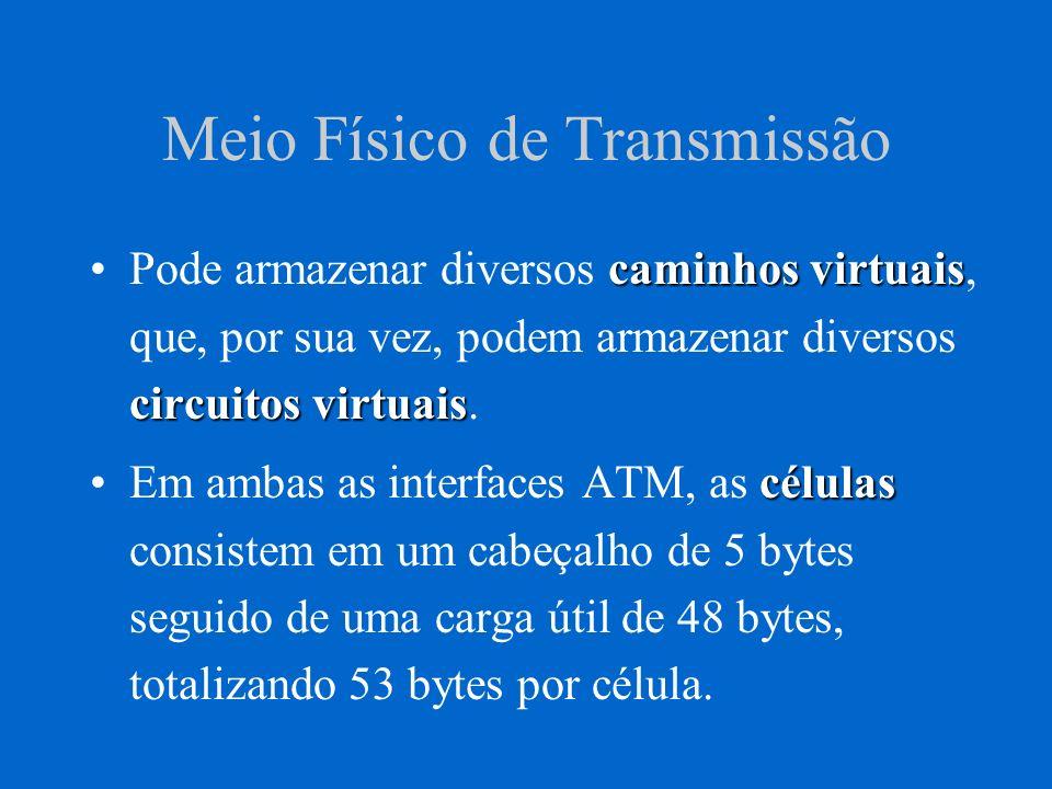 Meio Físico de Transmissão caminhos virtuais circuitos virtuaisPode armazenar diversos caminhos virtuais, que, por sua vez, podem armazenar diversos c
