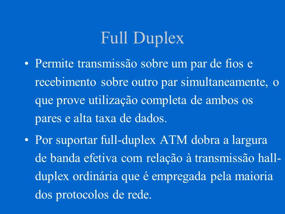 Full Duplex Permite transmissão sobre um par de fios e recebimento sobre outro par simultaneamente, o que prove utilização completa de ambos os pares