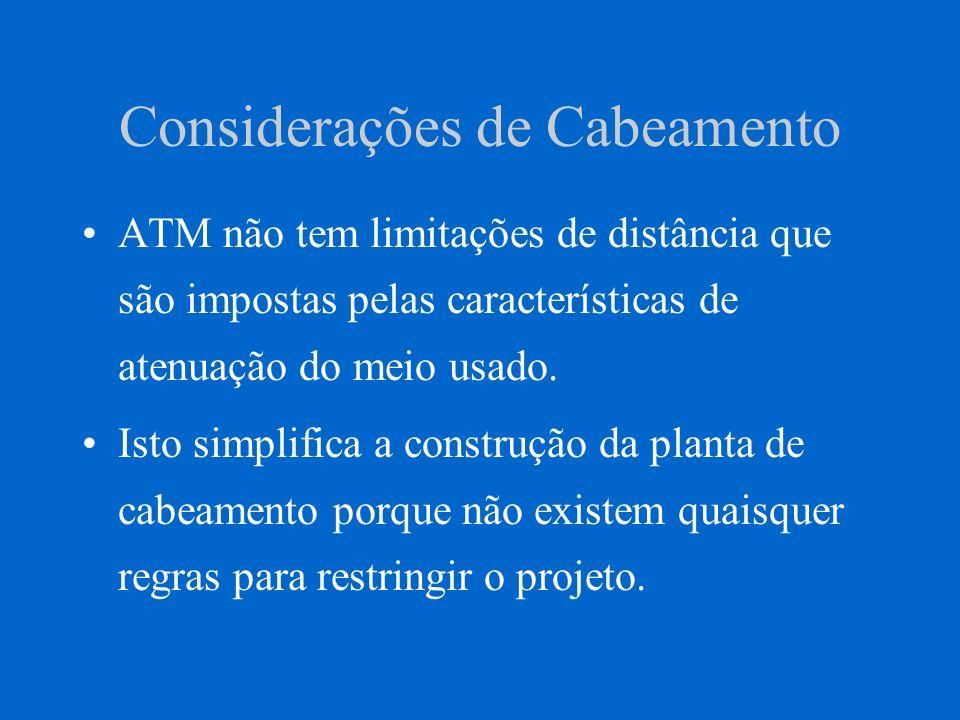 Considerações de Cabeamento ATM não tem limitações de distância que são impostas pelas características de atenuação do meio usado. Isto simplifica a c