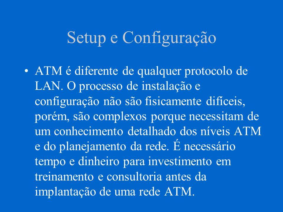 Setup e Configuração ATM é diferente de qualquer protocolo de LAN. O processo de instalação e configuração não são fisicamente difíceis, porém, são co