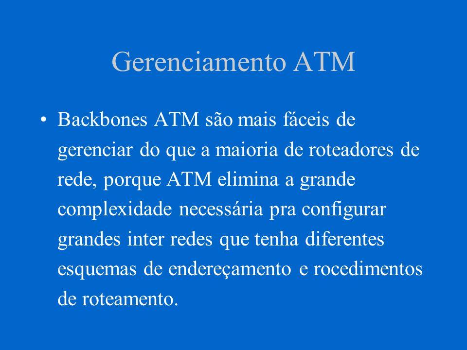 Gerenciamento ATM Backbones ATM são mais fáceis de gerenciar do que a maioria de roteadores de rede, porque ATM elimina a grande complexidade necessár