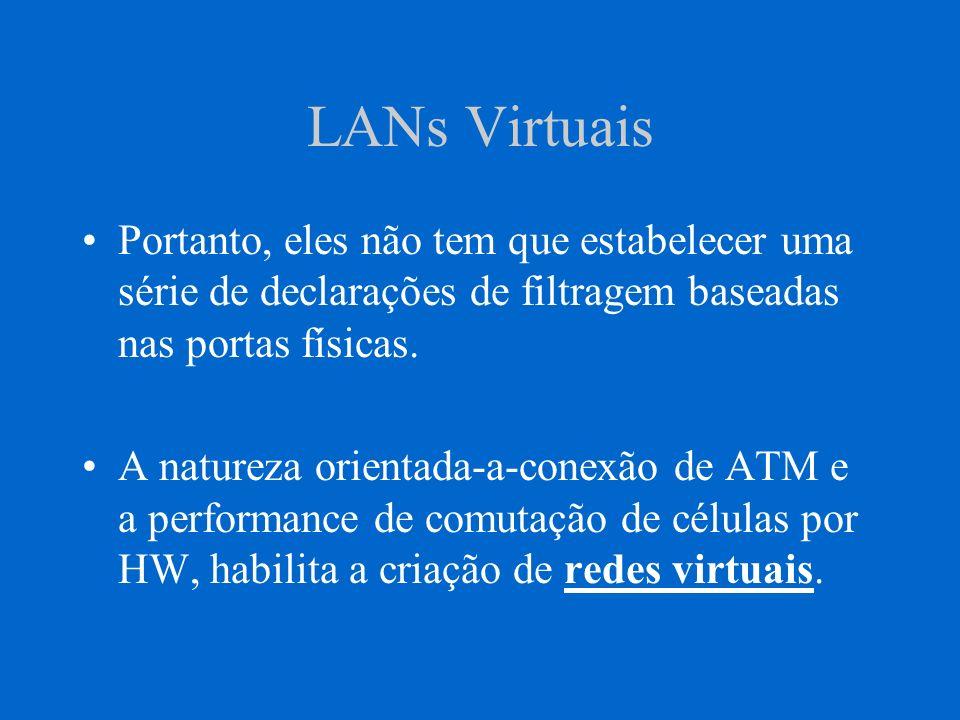 LANs Virtuais Portanto, eles não tem que estabelecer uma série de declarações de filtragem baseadas nas portas físicas. A natureza orientada-a-conexão
