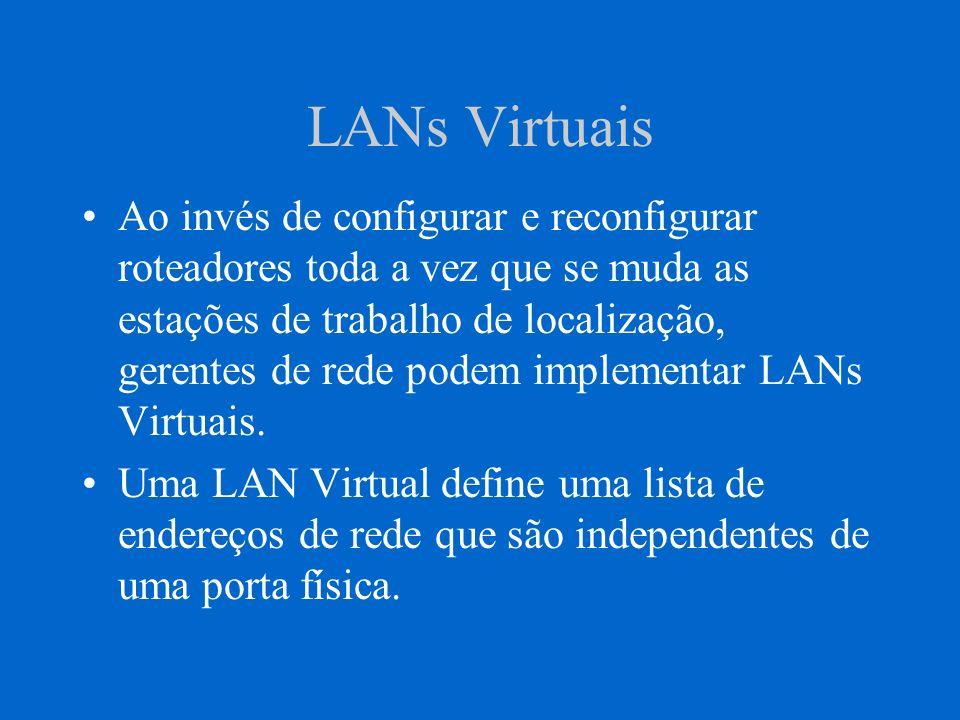 LANs Virtuais Ao invés de configurar e reconfigurar roteadores toda a vez que se muda as estações de trabalho de localização, gerentes de rede podem i