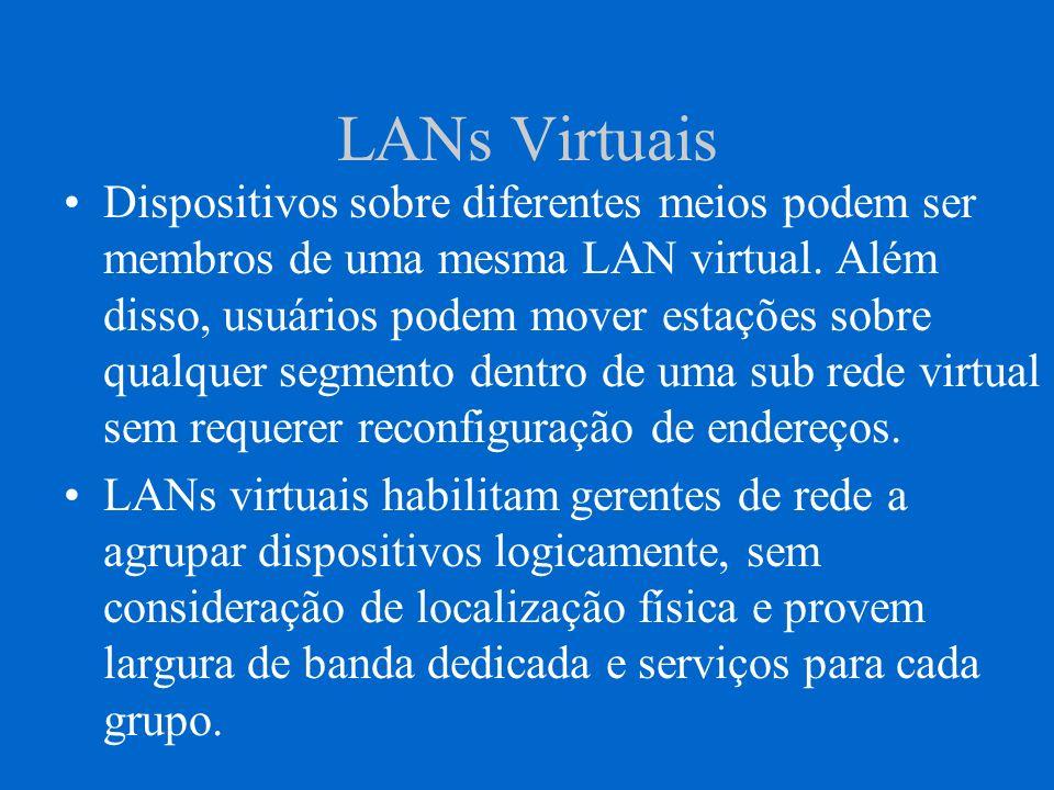 LANs Virtuais Dispositivos sobre diferentes meios podem ser membros de uma mesma LAN virtual. Além disso, usuários podem mover estações sobre qualquer