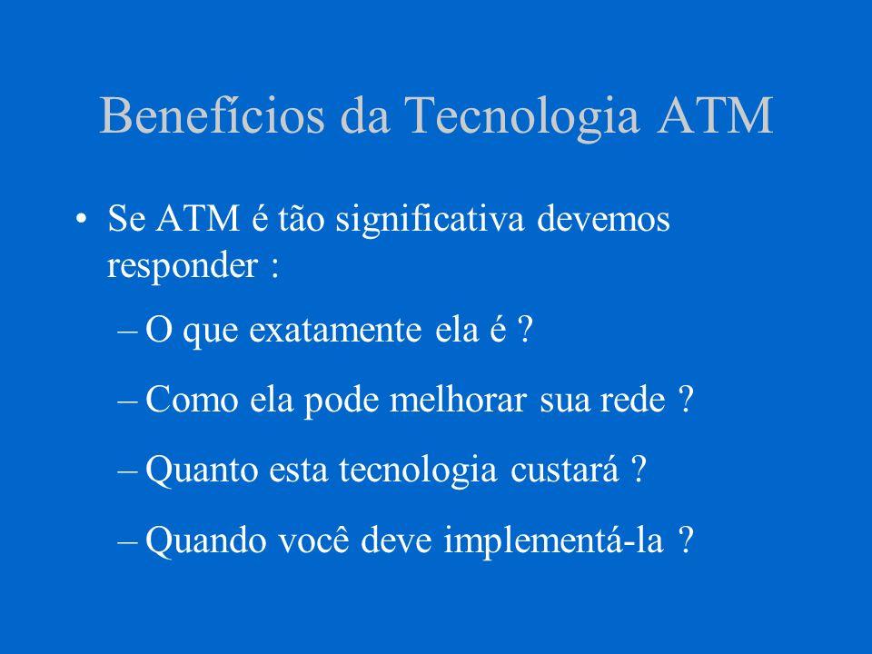 Benefícios da Tecnologia ATM Se ATM é tão significativa devemos responder : –O que exatamente ela é ? –Como ela pode melhorar sua rede ? –Quanto esta
