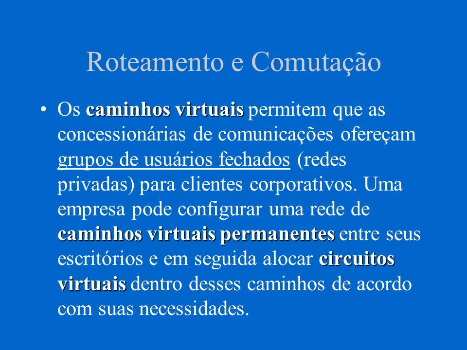 Roteamento e Comutação caminhos virtuais caminhos virtuais permanentes circuitos virtuaisOs caminhos virtuais permitem que as concessionárias de comun