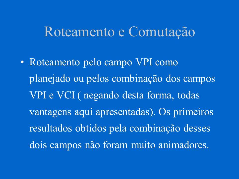 Roteamento e Comutação Roteamento pelo campo VPI como planejado ou pelos combinação dos campos VPI e VCI ( negando desta forma, todas vantagens aqui a