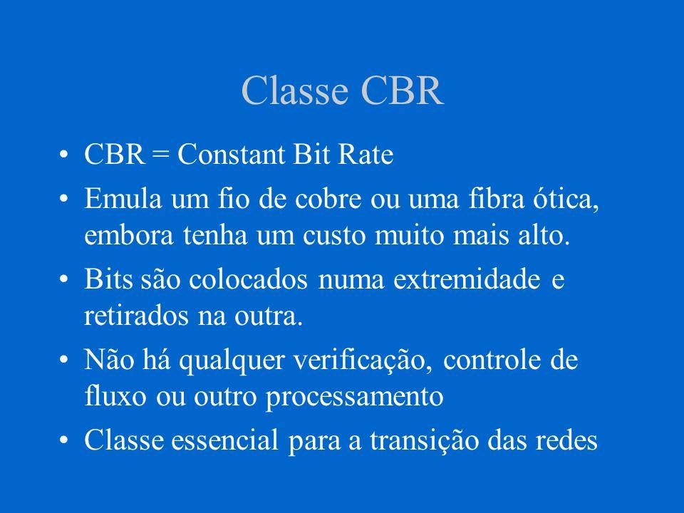 Classe CBR CBR = Constant Bit Rate Emula um fio de cobre ou uma fibra ótica, embora tenha um custo muito mais alto. Bits são colocados numa extremidad