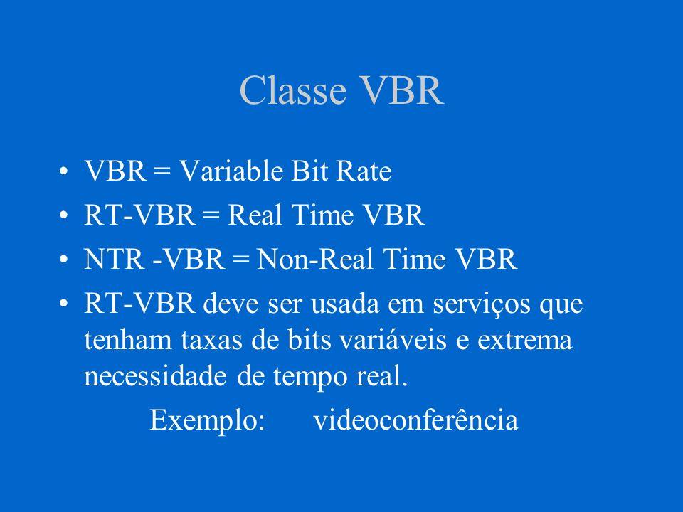 Classe VBR VBR = Variable Bit Rate RT-VBR = Real Time VBR NTR -VBR = Non-Real Time VBR RT-VBR deve ser usada em serviços que tenham taxas de bits vari