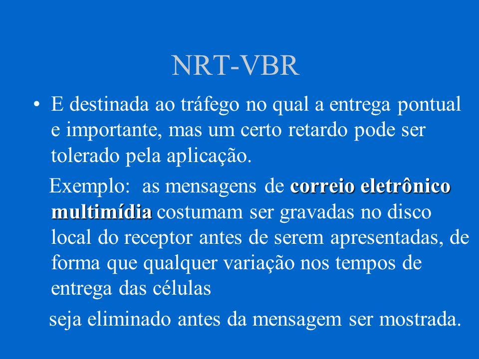NRT-VBR E destinada ao tráfego no qual a entrega pontual e importante, mas um certo retardo pode ser tolerado pela aplicação. correio eletrônico multi