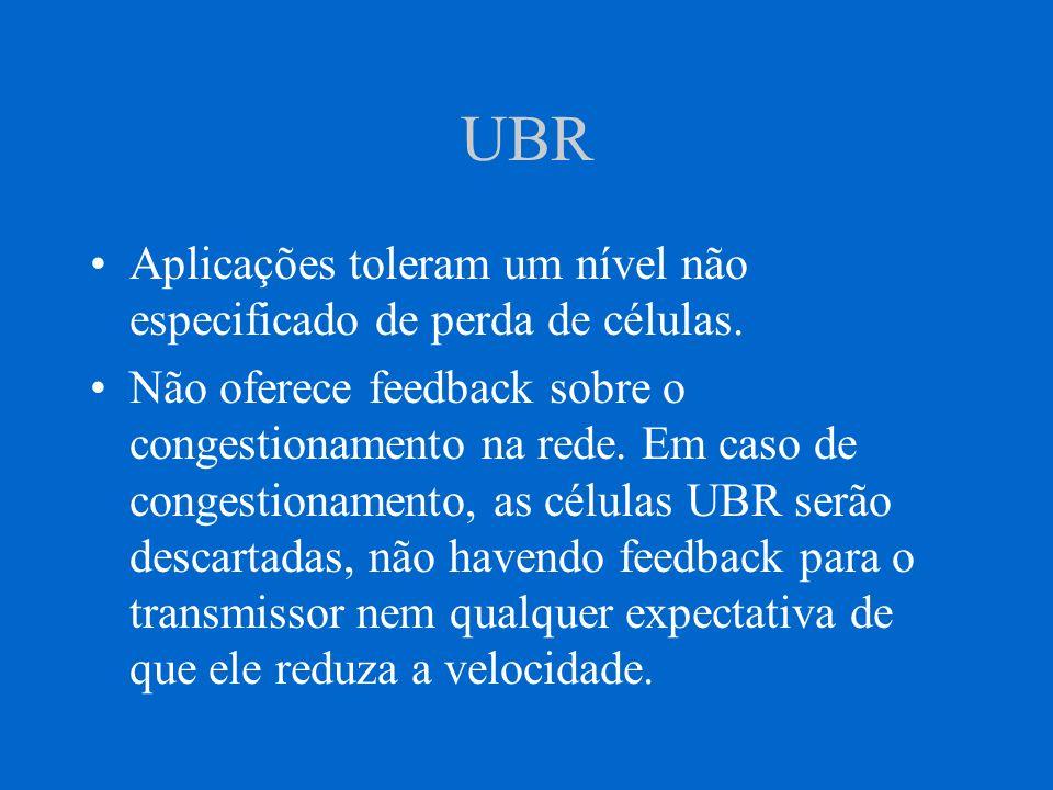 UBR Aplicações toleram um nível não especificado de perda de células. Não oferece feedback sobre o congestionamento na rede. Em caso de congestionamen