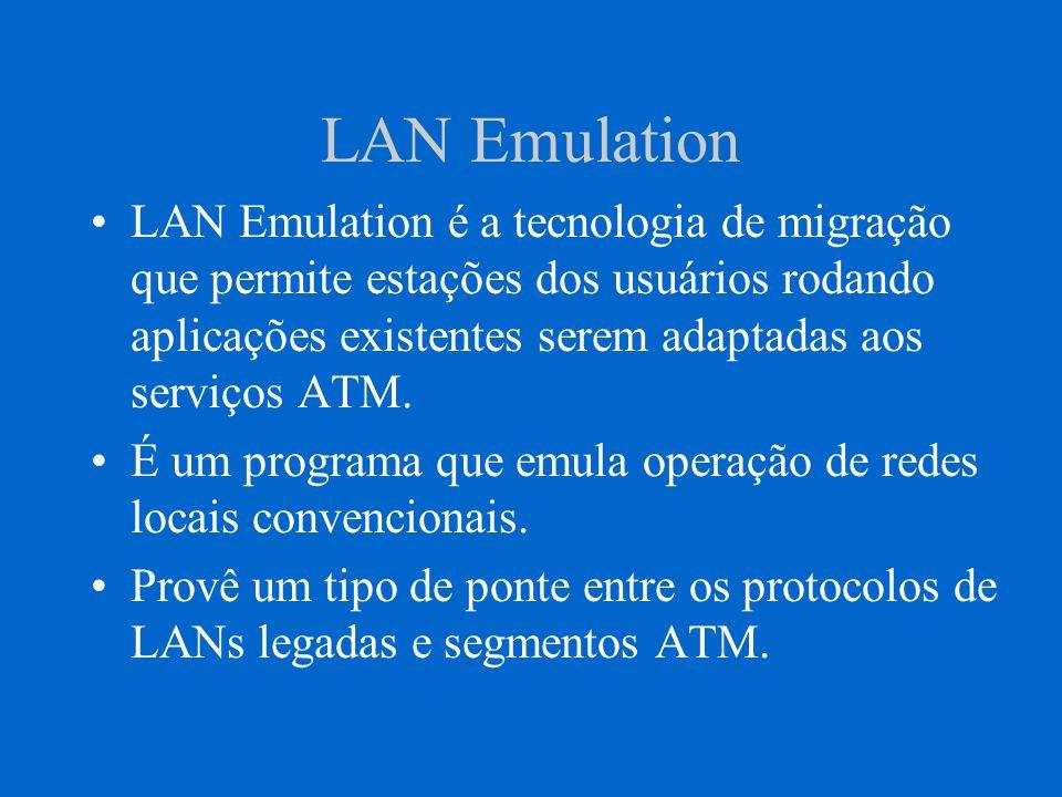 LAN Emulation LAN Emulation é a tecnologia de migração que permite estações dos usuários rodando aplicações existentes serem adaptadas aos serviços AT