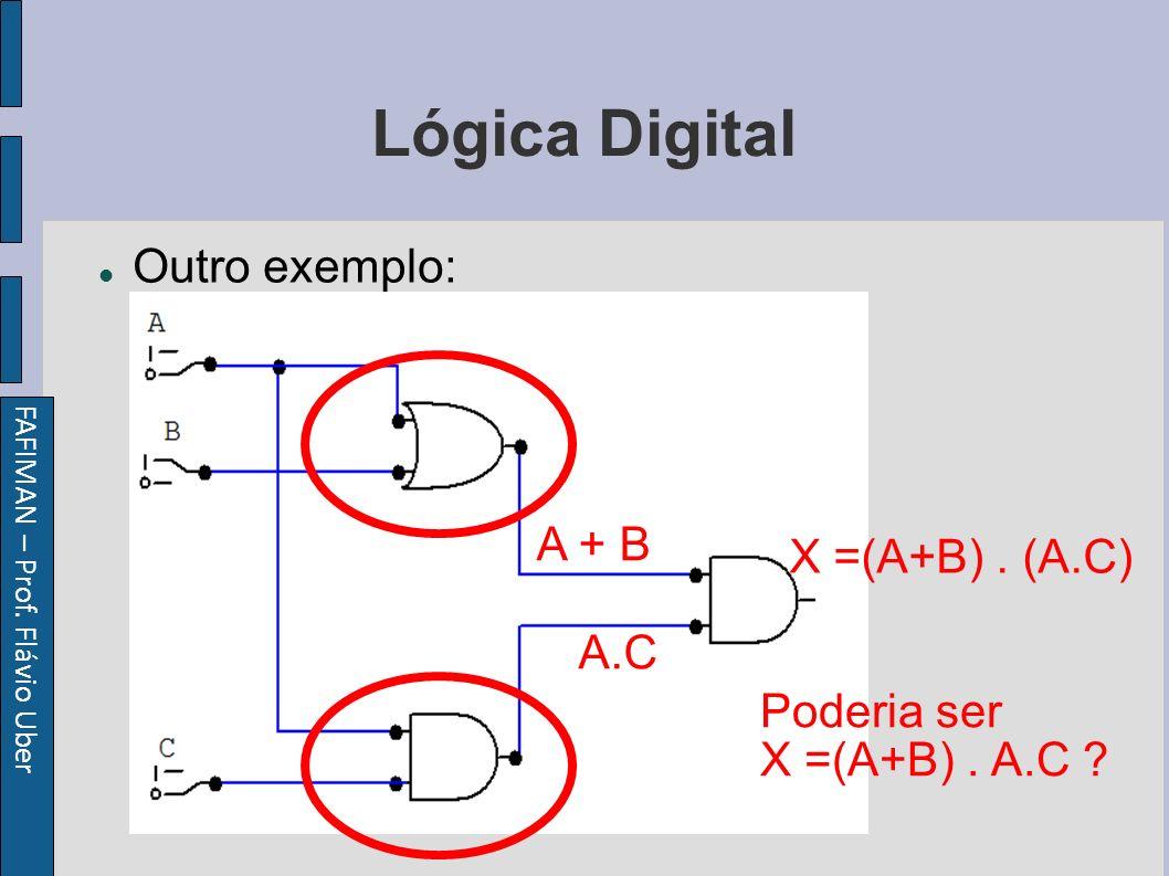 FAFIMAN – Prof. Flávio Uber Lógica Digital Outro exemplo: A + B A.C X =(A+B).