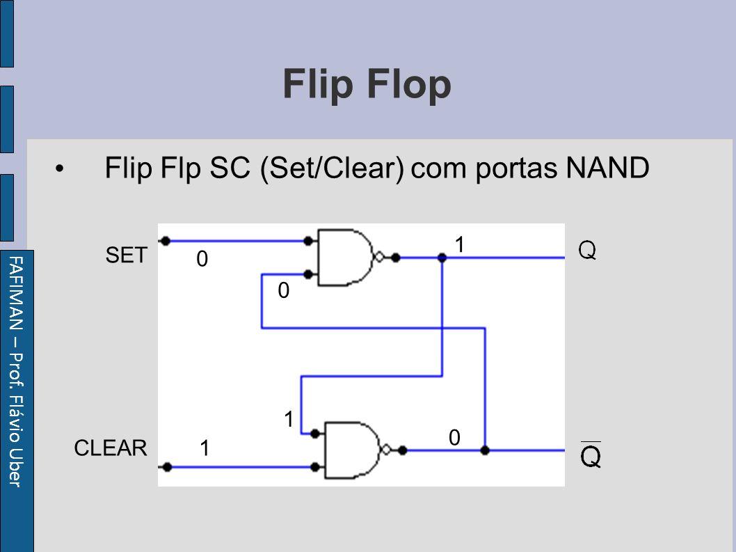 FAFIMAN – Prof. Flávio Uber Flip Flop Flip Flp SC (Set/Clear) com portas NAND SET CLEAR 0 1 1 1 0 0