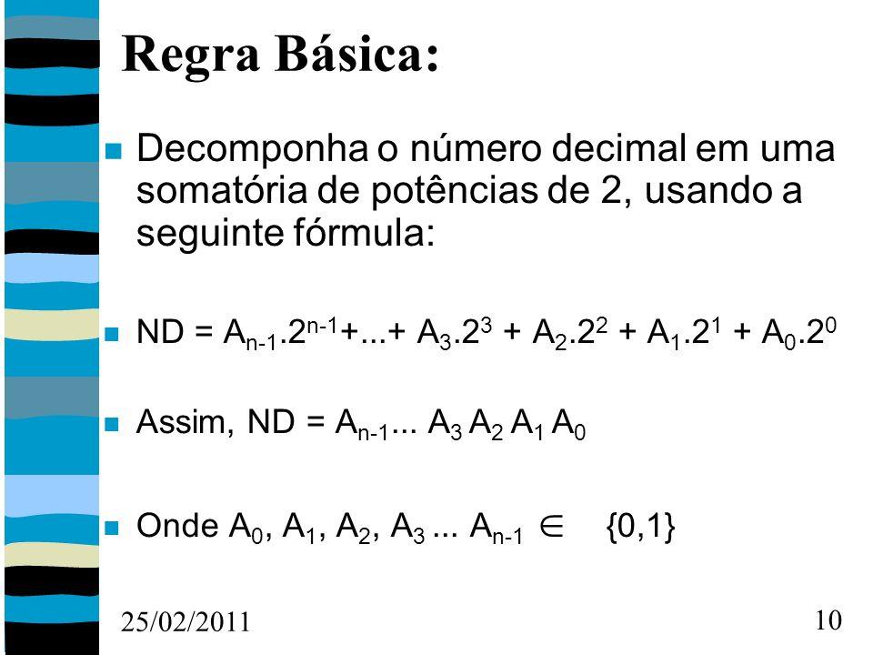 25/02/2011 10 Regra Básica: Decomponha o número decimal em uma somatória de potências de 2, usando a seguinte fórmula: ND = A n-1.2 n-1 +...+ A 3.2 3 + A 2.2 2 + A 1.2 1 + A 0.2 0 Assim, ND = A n-1...