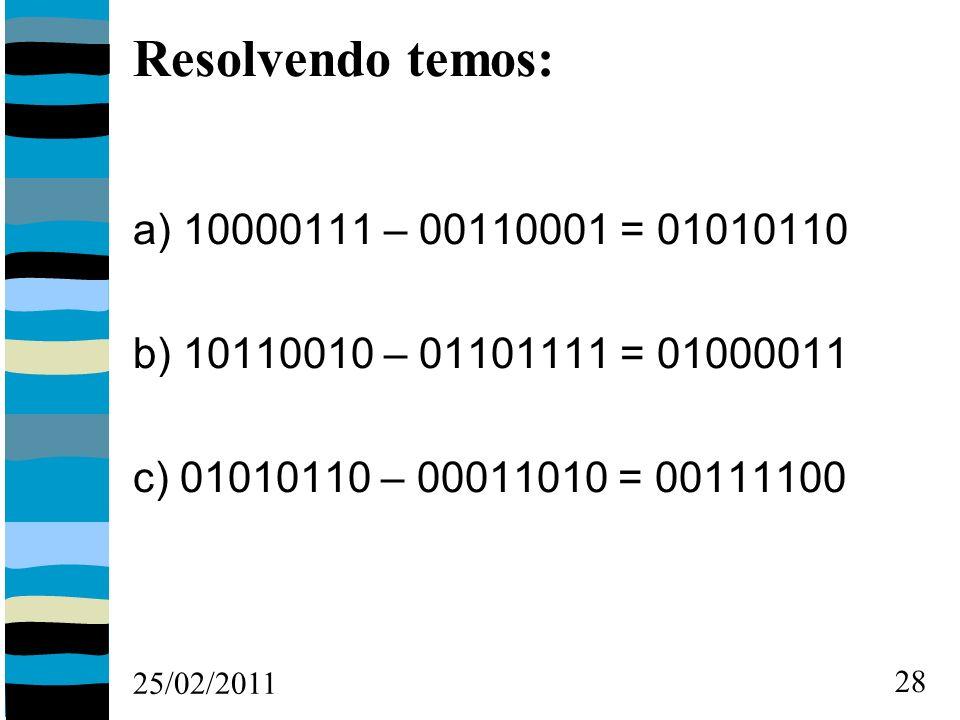 25/02/2011 28 Resolvendo temos: a) 10000111 – 00110001 = 01010110 b) 10110010 – 01101111 = 01000011 c) 01010110 – 00011010 = 00111100