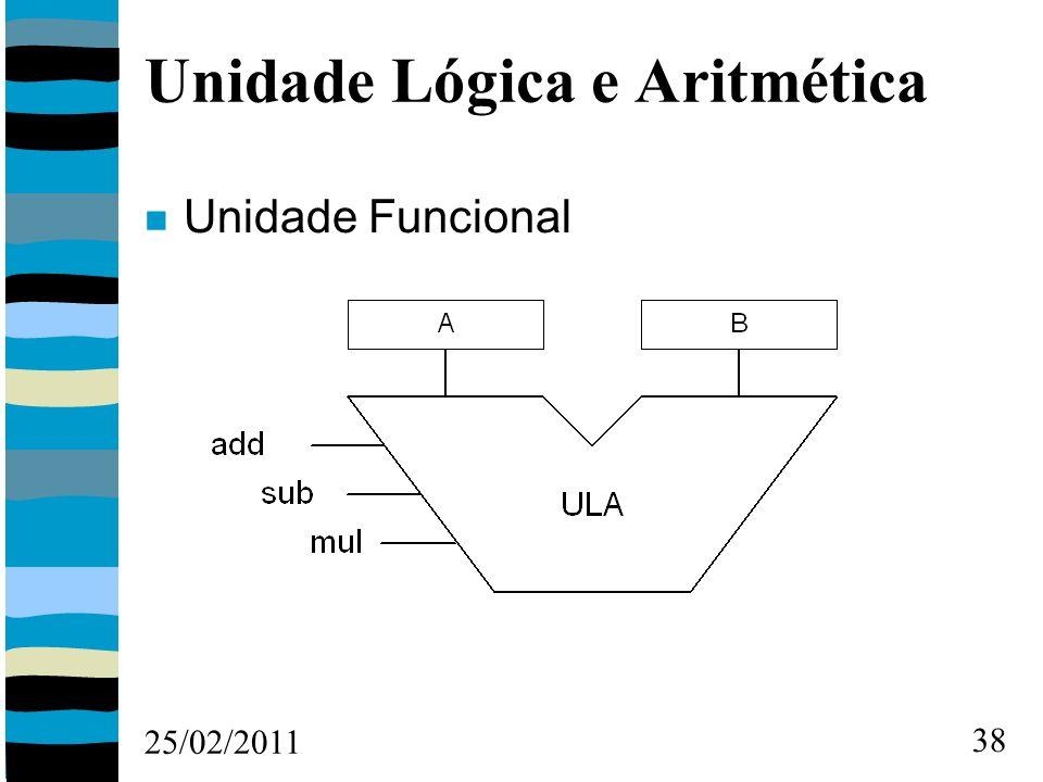 25/02/2011 38 Unidade Lógica e Aritmética Unidade Funcional