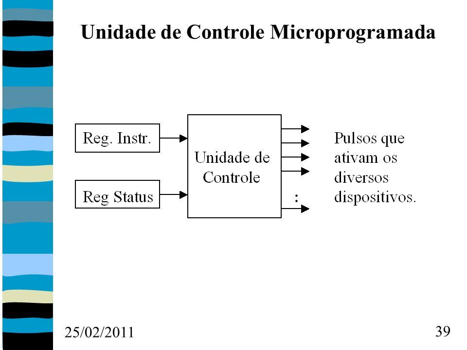 25/02/2011 39 Unidade de Controle Microprogramada